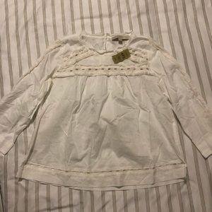 Ann Taylor Loft White ruffled blouse
